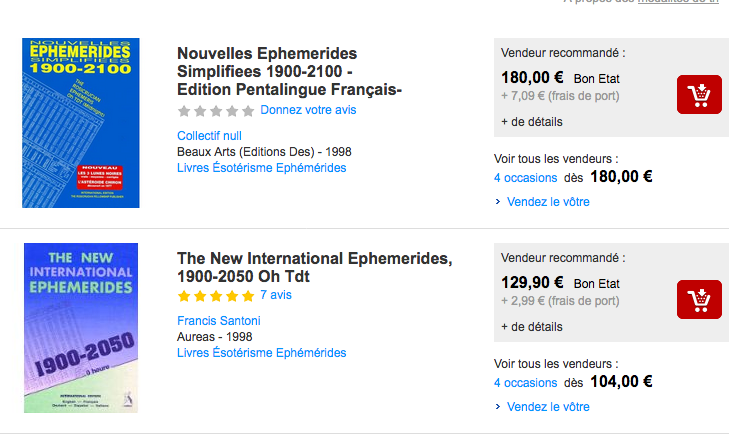 Ephemerides à plus de 100€ !!!